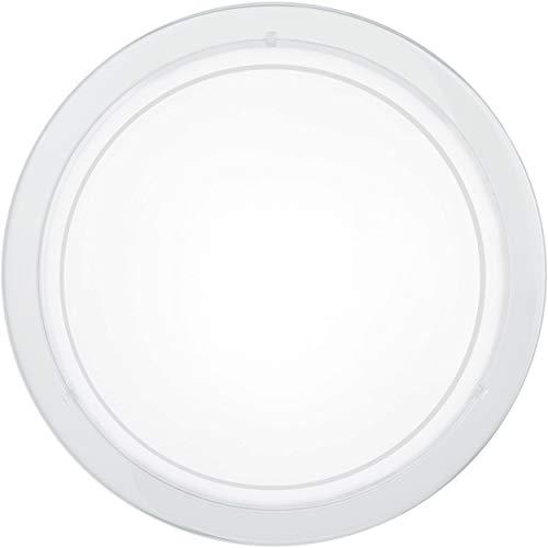 EGLO Deckenlampe Planet 1, 1 flammige Wandleuchte, Deckenleuchte aus Stahl, Farbe: Weiß, Glas: Weiß lackiert, Fassung: E27