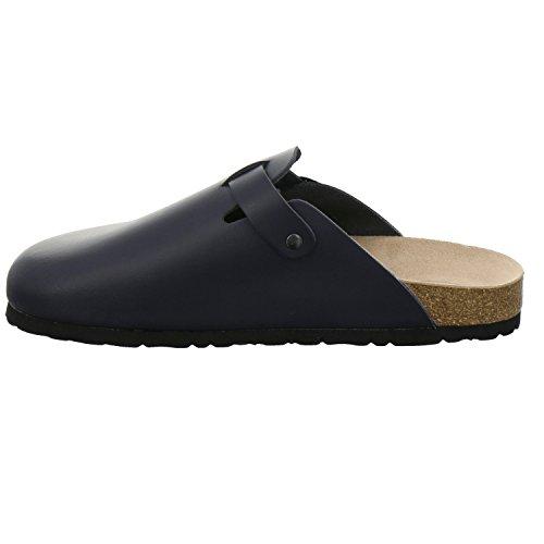 AFS-Schuhe 390010 Clogs Damen und Herren, bequeme Hausschuhe unisex, hochwertiges, echtes Leder, praktische Arbeits-Pantoffeln, modische Schlappen für zu Hause, Made in Germany Navy