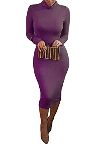 ALAIX Women Sexy Turtleneck Long Sleeve Autumn Cocktail Stretch Bodycon Dinner Midi Dress Purple-S