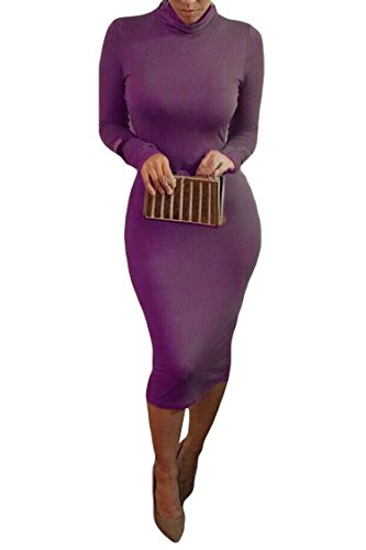 ALAIX vendaje de las mujeres de cuello alto manga larga Slim Bodycon Midi Sexy fiesta vestido de noche morado morado S