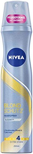 NIVEA Blond Schutz Haarspray im 3er Pack (3 x 250 ml), zum Haarstyling für blonde oder blondierte Haare, angenehmer Duft  &  starker Halt