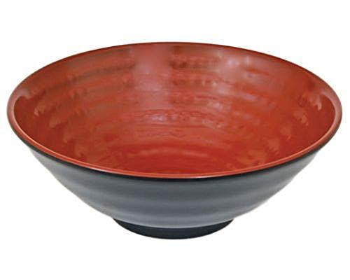 Happy Sales HSMPB-TMBKRD Große Schüssel aus Melamin, japanischer Stil, groß, 24,1 cm, Rot/Schwarz (Melamin Schüssel Rot)
