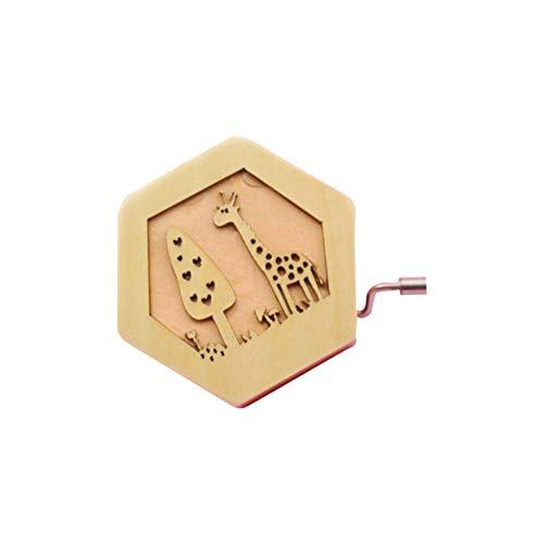 (Spieluhr aus Holz, Motiv Giraffe geschnitzt, Spieluhr, Geschenk für Kinder, Mini-Handkurbel)