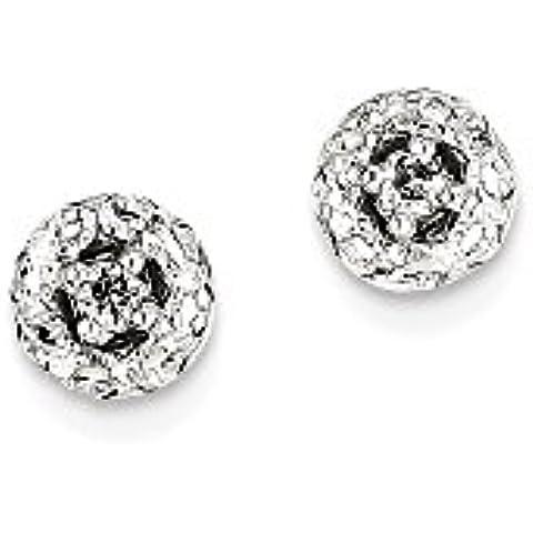 Icecarats Designer Di Gioielli In Oro 14K Bianco 0.12Ct Diamante Pubblicare Rotonda Orecchini