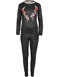 Womens Ladies Loungewear Set Sweatshirt Joggers Knitted Tracksuit Pants UK 8-14