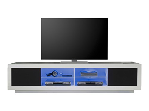 trendteam 32202 TV Möbel Lowboard Weiss Hochglanz, Absetzung Akustikstoff schwarz, BxHxT 220x50x53 cm