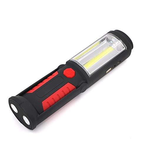 Rouge : rechargeable USB lampe de poche à LED COB COB Bande de lumière + lampe torche 1led travail à la main lampe Lanterne magnétique étanche d'urgence lumière LED