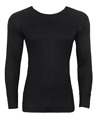 MENS THERMAL LONG SLEEVE VEST UNDERWEAR EXTRA WARM WINTER HEAT TRAP S M L XL XXL[Black,S,Long Sleeve T-ShirtThermal]