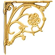 Casa Decor Majestic Handcrafted Iron Wall Bracket for Shelves (Large, Golden)