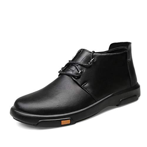 Kleid Bootie (KCBYSS Oxford Schuhe for Männer Booties Schnürschuhe Business-Kleid Driving Combat Walking Flache Anti-Rutsch-Echtleder-Runde Kappe Wasserdicht (Color : Schwarz, Größe : 39 EU))
