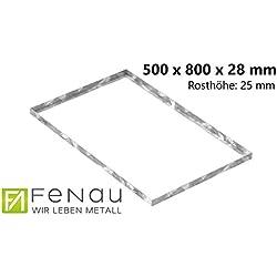 Fenau | Cadre pour caillebotis (en acier) - Dimensions : 500 x 800 x 28 mm - pour grilles d'une hauteur de 25 mm - (pour caillebotis: 490 x 790 x 25 mm)