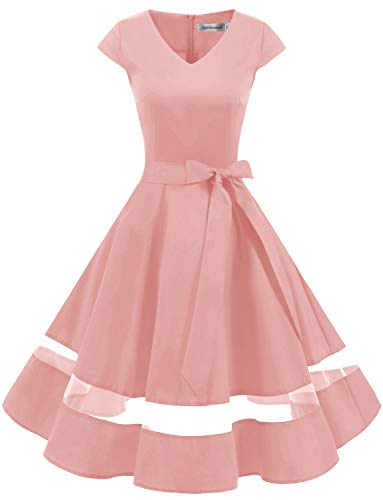 Gardenwed 1950er Vintage Retro Cocktailkleid Cap Sleeves Rockabilly Kleider Damen Schwingen Petticoat Faltenrock Blush L