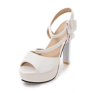 Sandales femmes Été Automne Chaussures Club Bureau PU & Carrière Partie & Tenue de soirée Bowknot talon aiguille Crochet et boucle White
