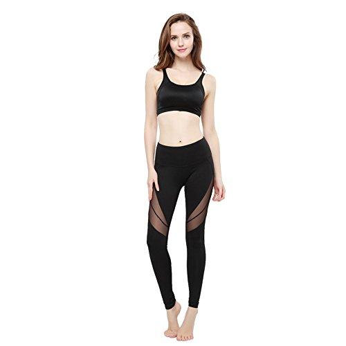 FeelinGirl Legging de Sport Femme Jogging Yoga Pantalon Noir1 S