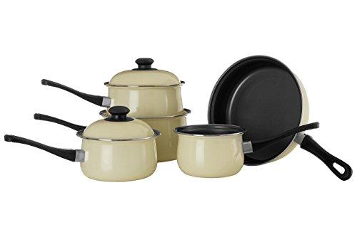 5pc Cream Bauch Pfanne Set, Antihaft-Kohlenstoffstahl, Bakelit Griffe Sauce Pan Set