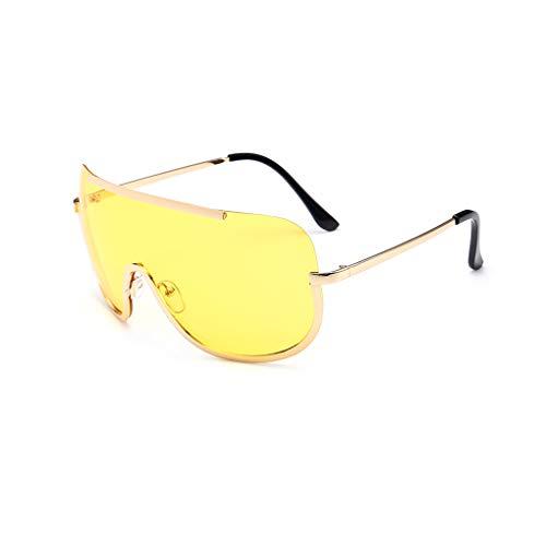 Meisijia Frau große Feld-Metall Conjoined Objektiv Sonnenbrillen Sun Glasses UV 400 UV 400 Schutz weiblich Brillen Anti-UV Outdoor-Sonnenbrillen