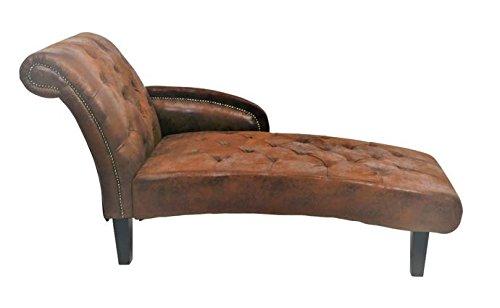 Vintage Liegesofa Chaiselongue Lederoptik Textil braun
