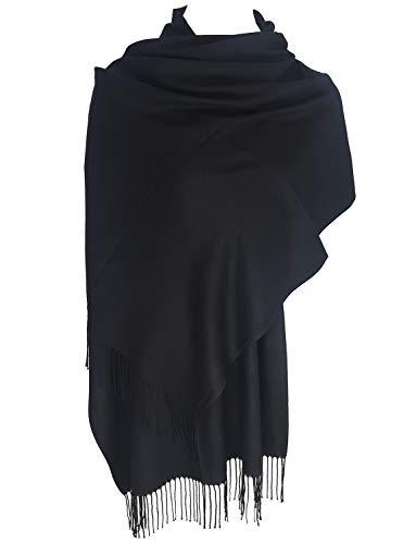 TFENG Damen Schal, 19 Farben Frauen Weich Elegant Stola Schal Tuch, übergroßer Deckenschal Herbstschal Winterschal, Schwarz