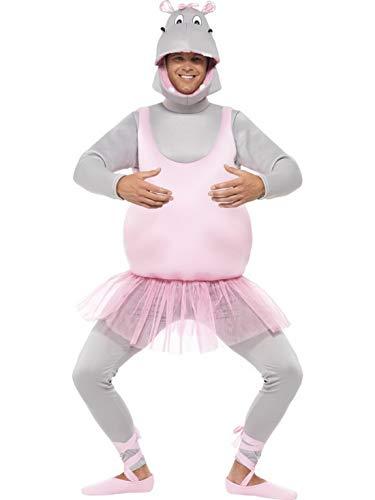 Luxuspiraten - Herren Männer Hippo Ballerina Ballett Nilpferd Kostüm mit Oberteil, Hose, Kopfbedeckung & Schuhüberziehern, perfekt für Karneval, Fasching und Fastnacht, One Size, Rosa