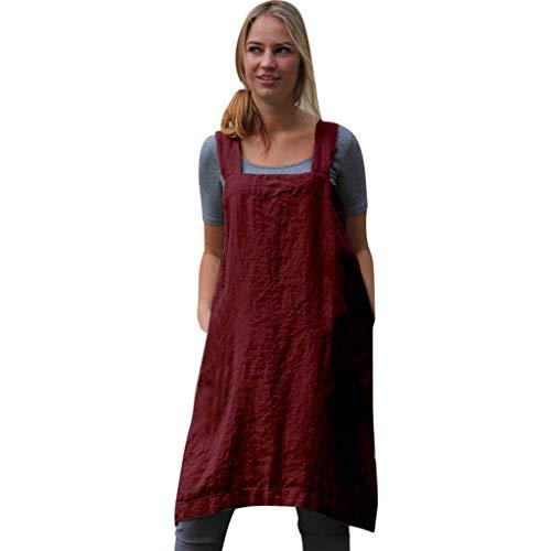 kolila Damen Schürze Baumwolle Leinen Kleid Comfort Lose Zuhause Einfarbig Breiter Sling Hintere Öffnung Pinafore Bluse Kleider Street Sling