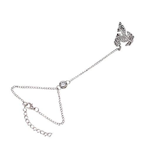 aae1a33faf57d Bracelet Chaîne avec Bague Parure de Main Couleur d'Argent