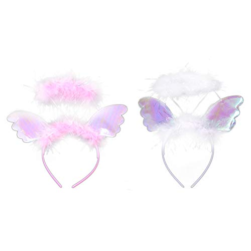Amosfun Engelsflügel und EIN Halo Stirnband Cosplay Haarreifen Kostüm Party Dress Up Zubehör Party Favors Supplies 2 STÜCKE (1 Weiß + 1 (Angel Halo Kostüm Zubehör)