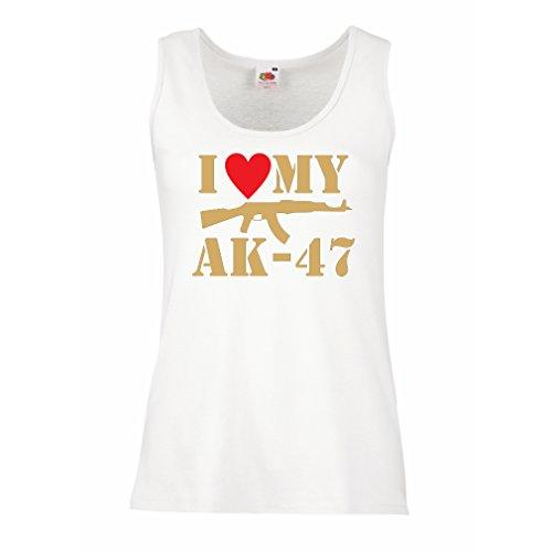 Damen Tank-Top Ich liebe meine Ak - 47, russisch machte Aka, Калашников Kalashnikov (Medium Weiß Gold)