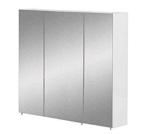 *Schildmeyer Basic Spiegelschrank ohne Beleuchtung melaminharzbeschichtete Spanplatte weiß Glanz 90 cm*