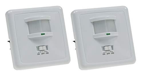 Unterputz Bewegungsmelder 160° 9m Reichweite LED geeignet 3-Draht Infrarot UP Einbau 2 Stück Weiß