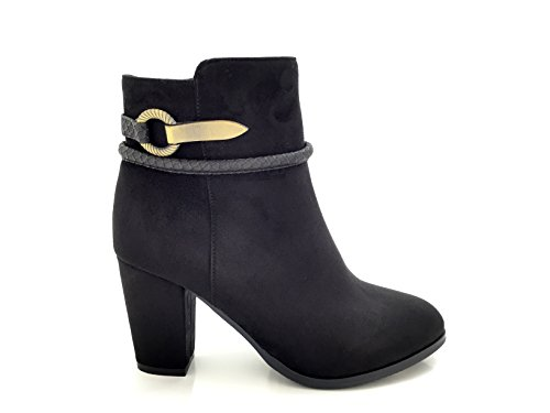 CHIC NANA . Chaussure femme bottine à talon, style daim, bride boucle fantaisie.