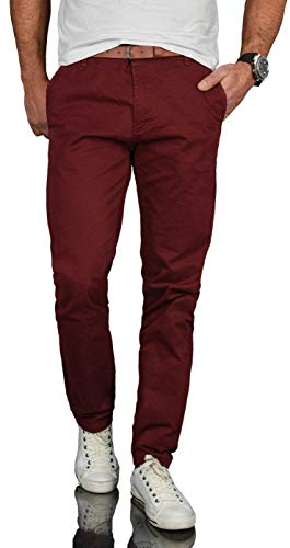 A. Salvarini Herren Designer Business Chino Hose Chinohose Regular Fit AS-095 [AS-095 - Bordeaux - W32 L32]