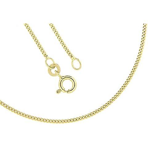 Collana da donna in oro giallo 750/18 carati, maglia piatta, lunghezza a scelta