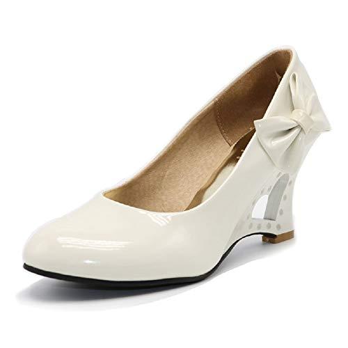 Pumps 5 Farben Weiß Creme Pink Schwarz Gelb Keil Hochzeit High Heels Schuhe Brautschuhe Braut Damenschuhe (43 wie (42), Ivory)
