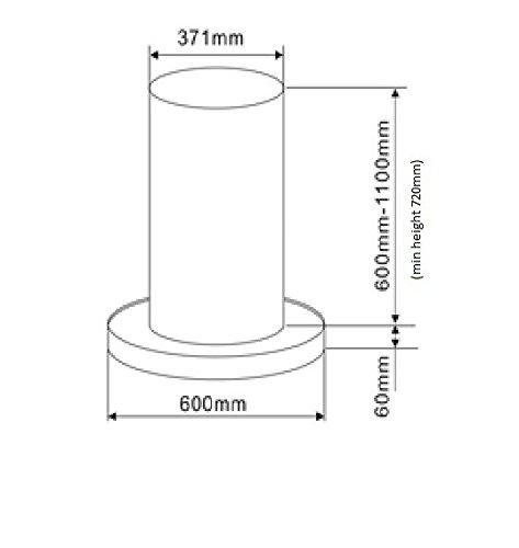 31COWJ8MmKL - Cookology TUB350SS 60cm Tubular Island Cooker Hood - Stainless steel 750m3/hr
