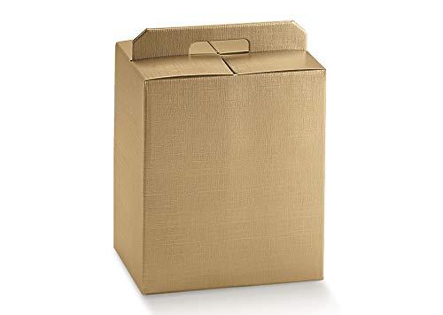 5 scatole oro robusta cm.28x20x35h strenne natalizie fino a 7 kg cartone accoppiato e maniglia esterna dorato