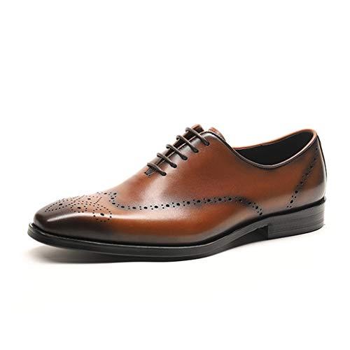 K-Flame Business Oxford Brogues Schuh Formelle Kleidung Leder Schnürschuhe Schuhe Casual Small Square Head Schuh für Büro Hochzeit,Brown,37 -