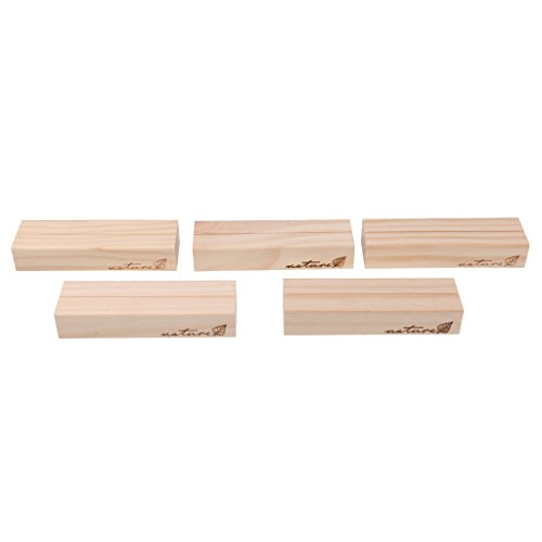 (Sharplace 5 x Holz Platzkartenhalter Kartenhalter Platzkarte Fotohalter Namensschild Hochzeit Tischdeko - Kräftiges Holz, 10 x 3 x 1,8cm)