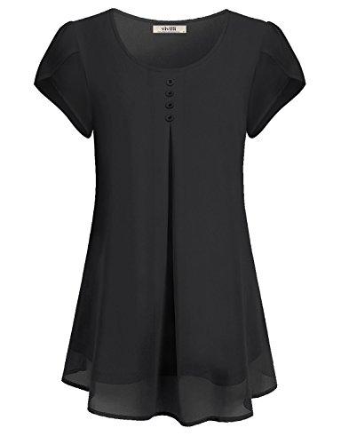 VIVILLI Kurzarm Tops für Frauen, Damen Freizeit Lang Lockere Einfarbig Shirt Weiter Rundausschnitt Cool Komfortabel Fließend Petite Bluse Schwarz XL
