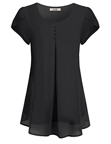 VIVILLI Damen Kurzarm Bluse Shirts Chiffon Rundhals Falten Tunika Oberteile