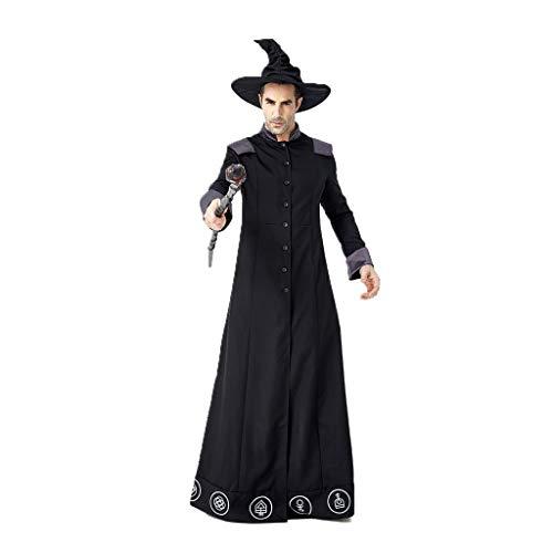 Bearbelly - Zauberer Kostüm, Dunkler Zauberer Robe,Hexenmeister Umhang, Cosplay Kostüm Herren Damen Unisex Hexer Henker Schwarzer Magier Dämonischer Priester (Langarm Priester Kostüm)