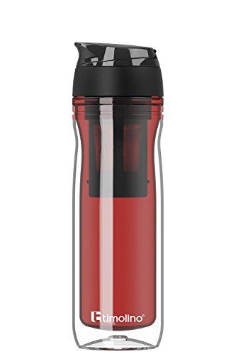 Premium - Trinkflasche - Wasserflasche - Thermobecher 400 ml für Kaffee und Tee - Coffee to Go - Isoliert für heiße und kalte Getränke - Shakes - Teesieb - Fruchtsieb - Rot