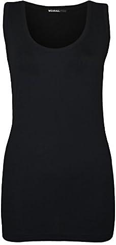 Plus Size Womens Plain Ribbed Ladies Sleeveless Scoop Neck Vest Top - Black - 14