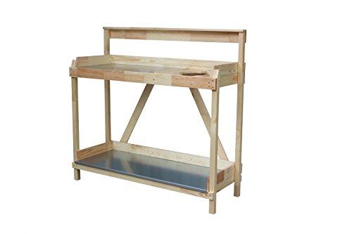 GreenSeason Table pour plantes avec plan de travail galvanisé et eimerhalterung, naturel, B117 X T43 x H113/92 cm