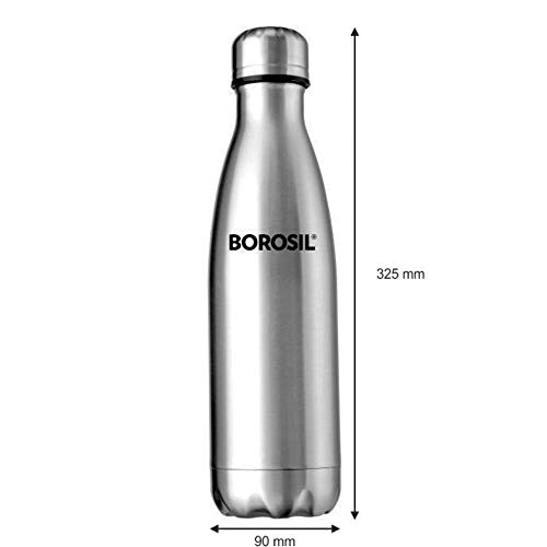 Borosil Stainless Steel Hydra Bolt - Vacuum Insulated Flask Water Bottle, 1L