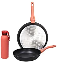 Tognana I Love The Planet Aluminium Bottle with 2 Frying Pans Set, Coral