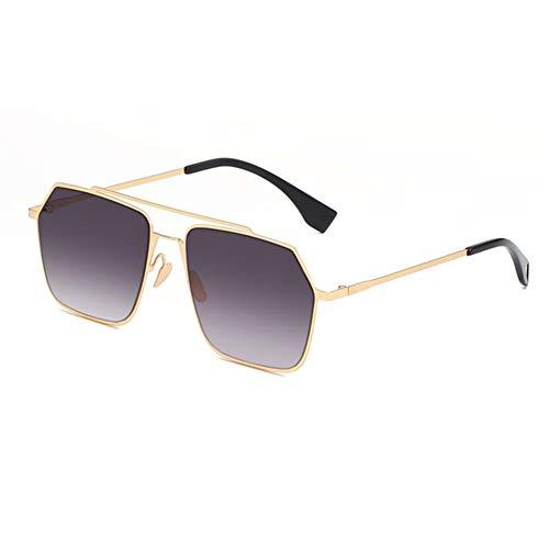 YHgiway Doppel-Brücken-Sonnenbrille für Frauen-Hexagonal Metal Frame and Gradient Linsen UV400 Schutzbrillen für die Fahrt mit YH6970,GrayGradient