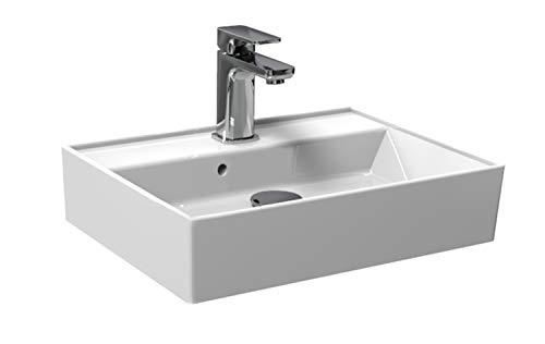 Waschbecken/Aufsatzbecken für das Gästebad | modernes Plan Design | weißer Waschtisch aus Keramik | Möbelwaschtisch für das Badezimmer,50x38x13cm -