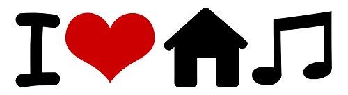I Love House Musik Aufkleber Herz Aufkleber Vinyl Bumper Cars Mix Club DJ EDM EDC 1.5