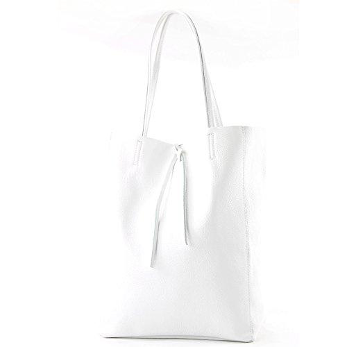 modamoda de - T163 - Ital. Shopper mit Innentasche aus Leder, Farbe:Weiß