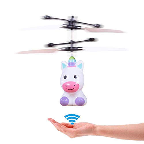 RC Helicopter with Rechargeable Mini LED Light Up Infrared Drone for Induction, Flying Toys - Unicorn, RC Toy Drone for Kids, Girls, Indoor Games